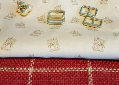 Red hessian and cream cotton with horse heads motif