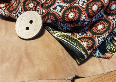 Light brown Leather / silky african pattern fabric