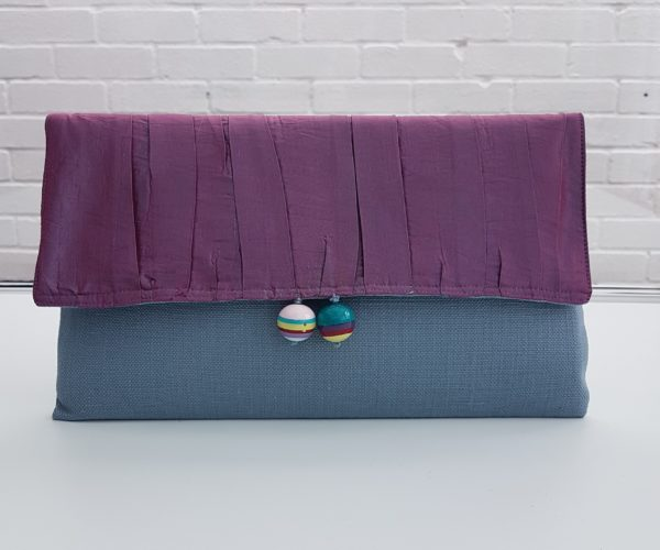 Luxury Handmade Large Violet Clutch Bag - Made in Britain