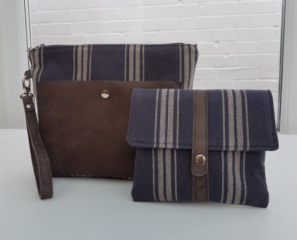 Women's handmade charcoal canvas and brown leather clutch bag and purse - made in Britain